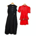 1930s Rayon Skirt Suit and 1920s Silk Dress, Vintage
