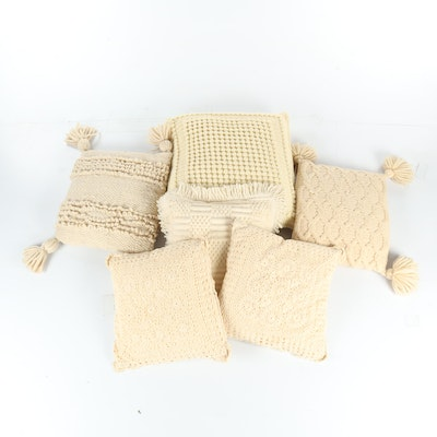 Cream Crocheted Throw Pillows