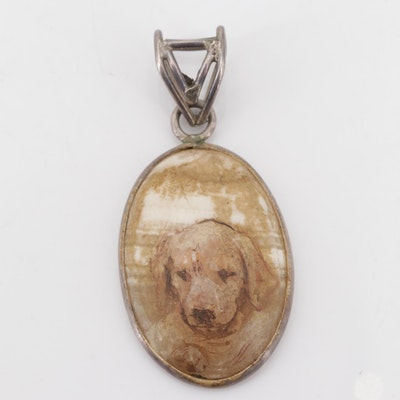 Sterling Silver and Hand-Painted Quartz Golden Retriever Puppy Pendant
