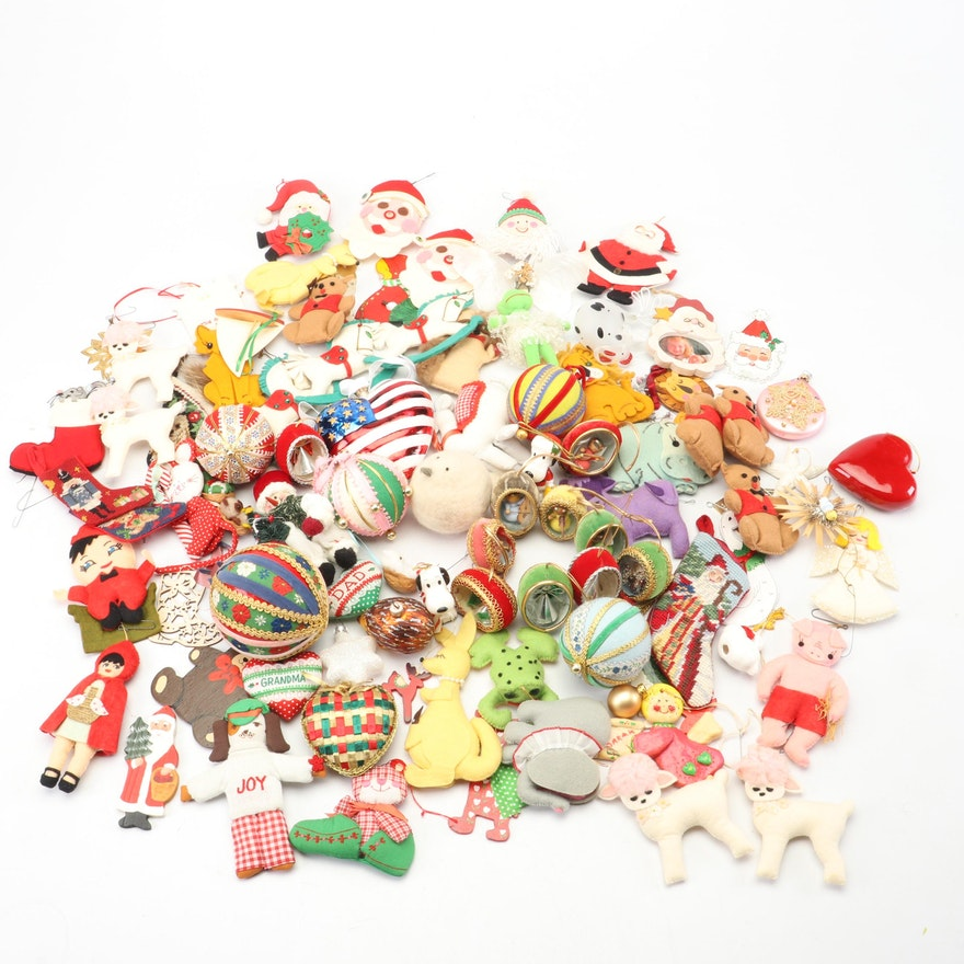 Contemporary and Vintage Glass and Felt Christmas Ornaments Featuring Snoopy