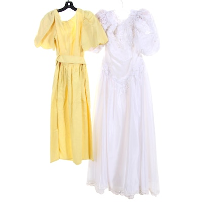 St. Pucchi White Beaded Evening Dress and William Pearson Yellow Dress