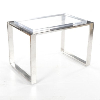 Mid-Century Modern Chrome and Lucite Table
