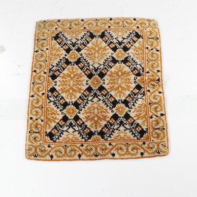 Geometric Cream and Orange Wool Shag Area Rug, Circa 1970