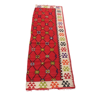 3'0 x 10'1 Handwoven Turkish Bessarabian Kilim Carpet Runner Remnant, circa 1920