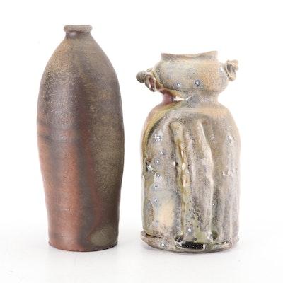 Wood Fired Dick Lehman Vase and Rob Barnard Thrown Stoneware Vases