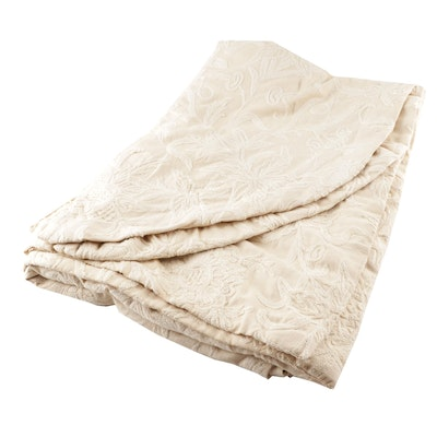 Cream Crewel Embroidery Twin Size Coverlet