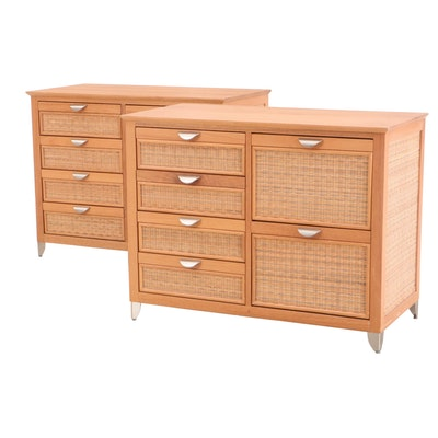 Pair of Blond Mahogany and Wicker Chest of Drawers, Contemporary