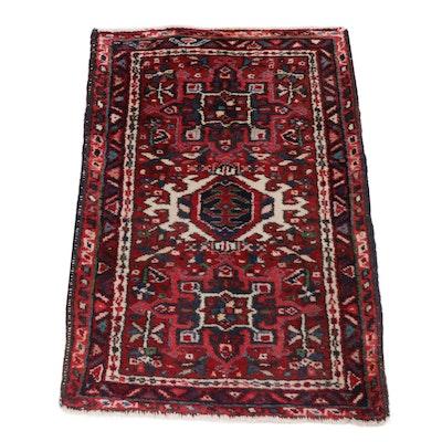 2'0 x 2'11 Hand-Knotted Persian Karaja Wool Rug, circa 1920s