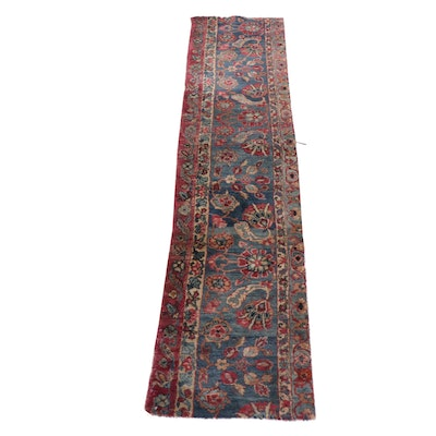1'6 x 7'4 Hand-Knotted Persian Kerman Carpet Runner Remnant, circa 1890