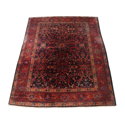 Hand-Knotted Persian Heriz Wool Room Sized Rug, circa 1920
