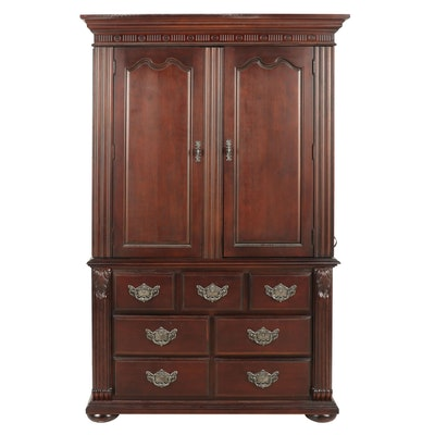 Contemporary Engineered Wood Entertainment Armoire with Dark Stained Finish