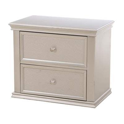 Silver Painted Two-Drawer Chest, Contemporary