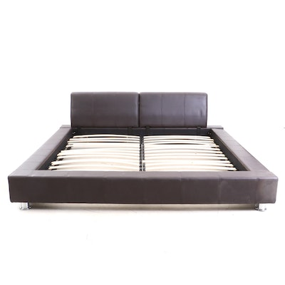 Leather Upholstered Padded Custom Size Platform Bed, Contemporary