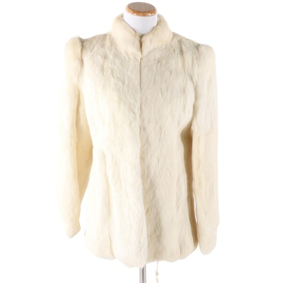 Fleet Street White Rabbit Fur Jacket, Vintage
