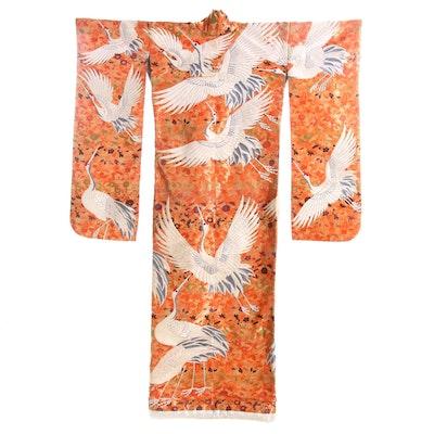 Orange Metallic Silk Brocade Uchikake Kimono, circa 1960