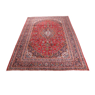 9'11 x 13'7 Hand-Knotted Persian Kashan Room Sized Rug, circa 1970
