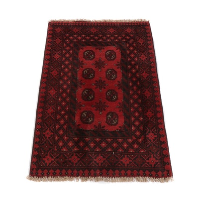 2'8 x 4'3 Hand-Knotted Afghani Turkomen Rug