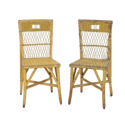 Painted Wicker Side Chairs, Vintage