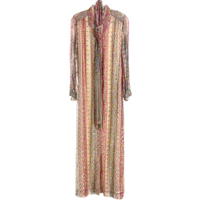 Nat Kaplan Paisley Print Kaftan Style Dress with Brocade Accents, 1960s Vintage