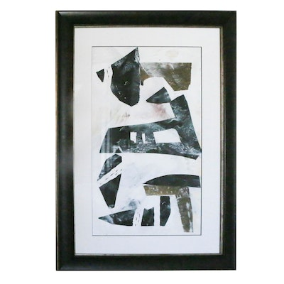 Framed Abstract Offset Lithograph Print in Black and Greys