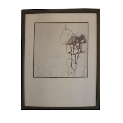 Framed Black & White Abstract Offset Lithograph Print