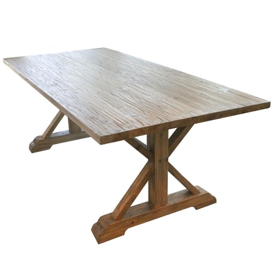 Rustic Farmhouse Trestle Dining Table, 21st Century