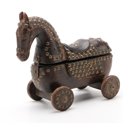 Indian Brass Embellished Teak Horse Spice Box, Early 20th Century