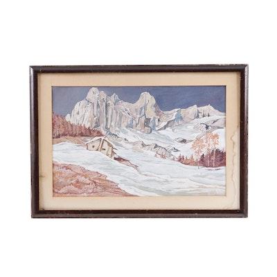 Winter Landscape Gouache Painting