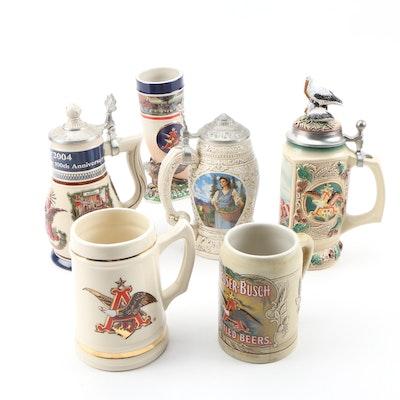 Anheuser Busch Ceramic Steins and Horn
