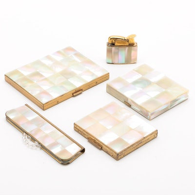 Gold Tone and Mother-of-Pearl Mosaic Compacts, Cigarette Case, Comb and Lighter