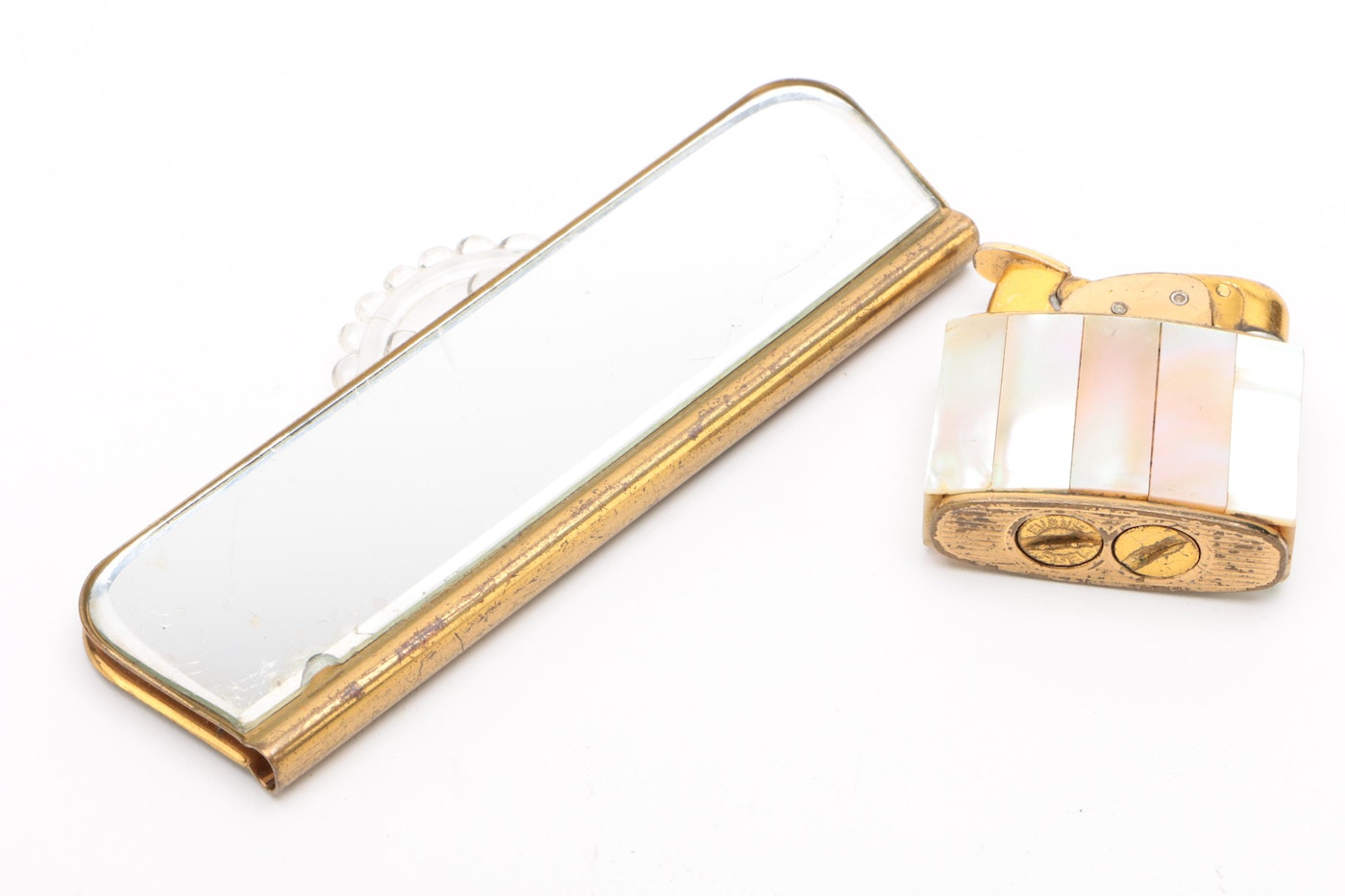 Gold Tone And Mother-of-Pearl Mosaic Compacts, Cigarette
