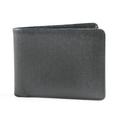 Louis Vuitton Paris Multiple Wallet in Black Taiga Leather, Made in France