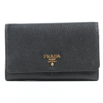 Prada Portafoglio Pattina Flap Wallet in Black Vitello Grain Leather