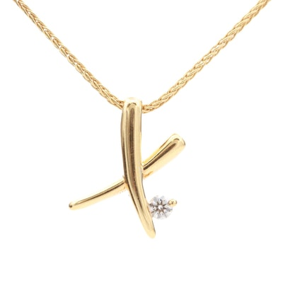 "Hearts on Fire 18K Yellow Gold Diamond ""X"" Pendant Necklace"