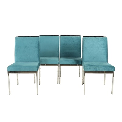 Four Blue Upholstered Chairs