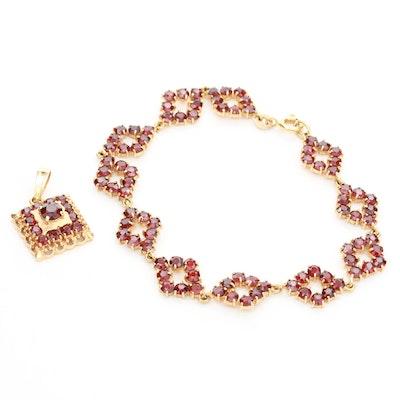 18K Yellow Gold Garnet Bracelet and Pendant Set
