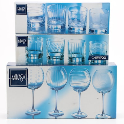 """Mikasa """"Cheers"""" Double Old Fashioned Glasses and Balloon Goblets"""