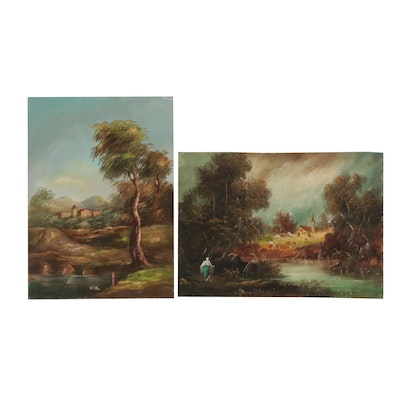Continental Style Landscape Oil Paintings