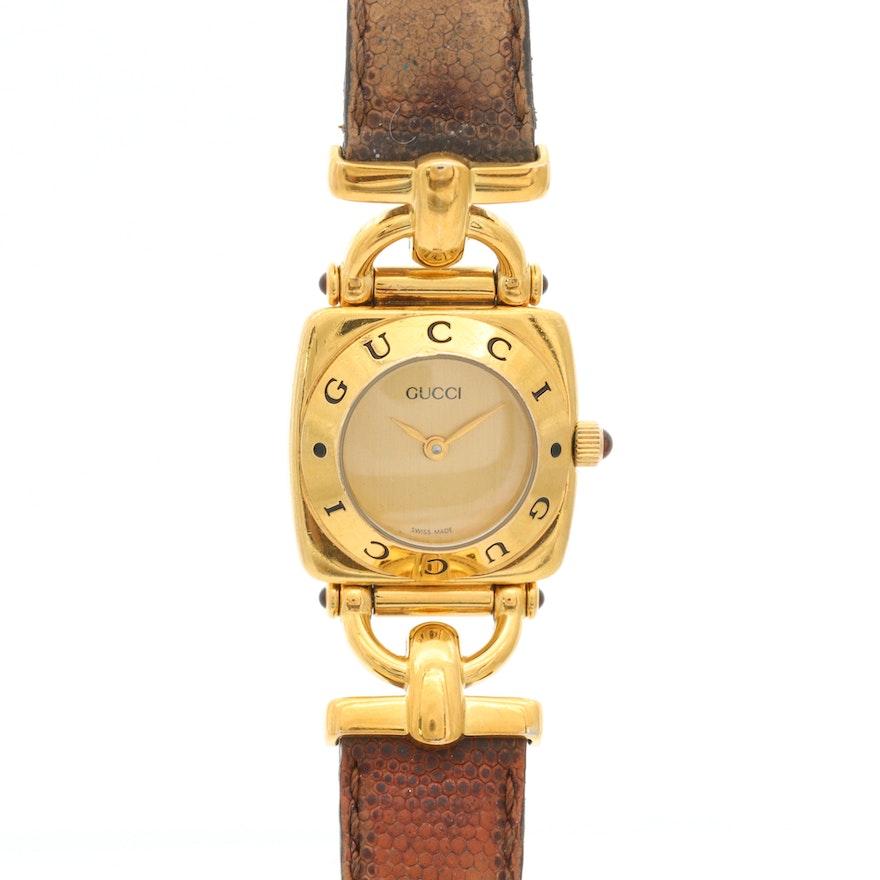 Vintage Gucci 6300L Gold Tone Quartz Wristwatch