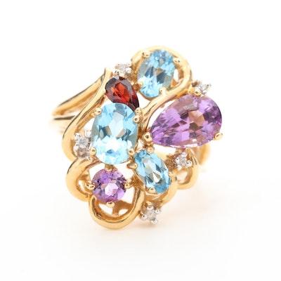 14K Yellow Gold Mixed Gemstone and Diamond Freeform Ring