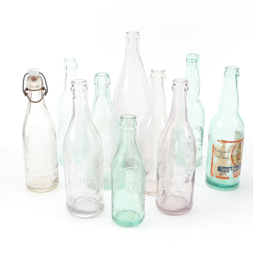 Glass Beer Bottles Including West End Brewing Co., Early to Mid 20th Century
