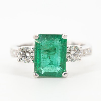 14K White Gold 2.26 CT Emerald and Diamond Ring