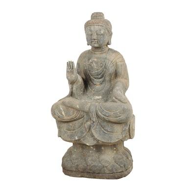 Outdoor Stone Buddha Statue   EBTH