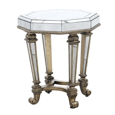 Hollywood Regency Style Mirrored End Table, Contemporary