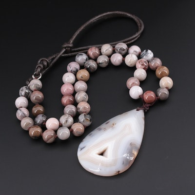 Agate Pendant Beaded Adjustable Necklace