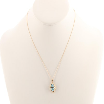 14K Yellow Gold Topaz and Diamond Pendant Necklace