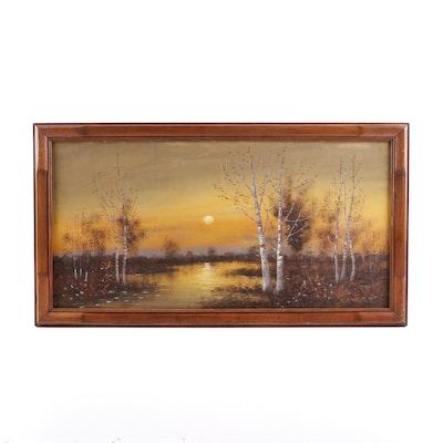 E.D. Wavel Sunset Landscape Acrylic Painting