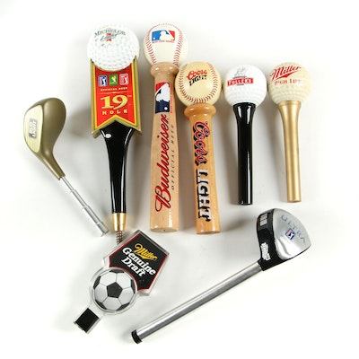 Sports Themed Beer Tap Handles including Michelob and Budweiser