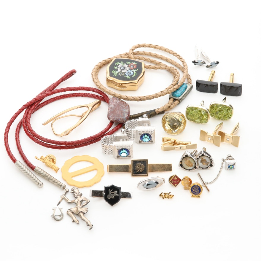 Assorted Vintage Jewelry and Accessories Featuring a Stratton Pill Box