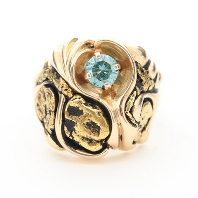 14K Yellow Gold Native Gold Nugget Diamond Ring